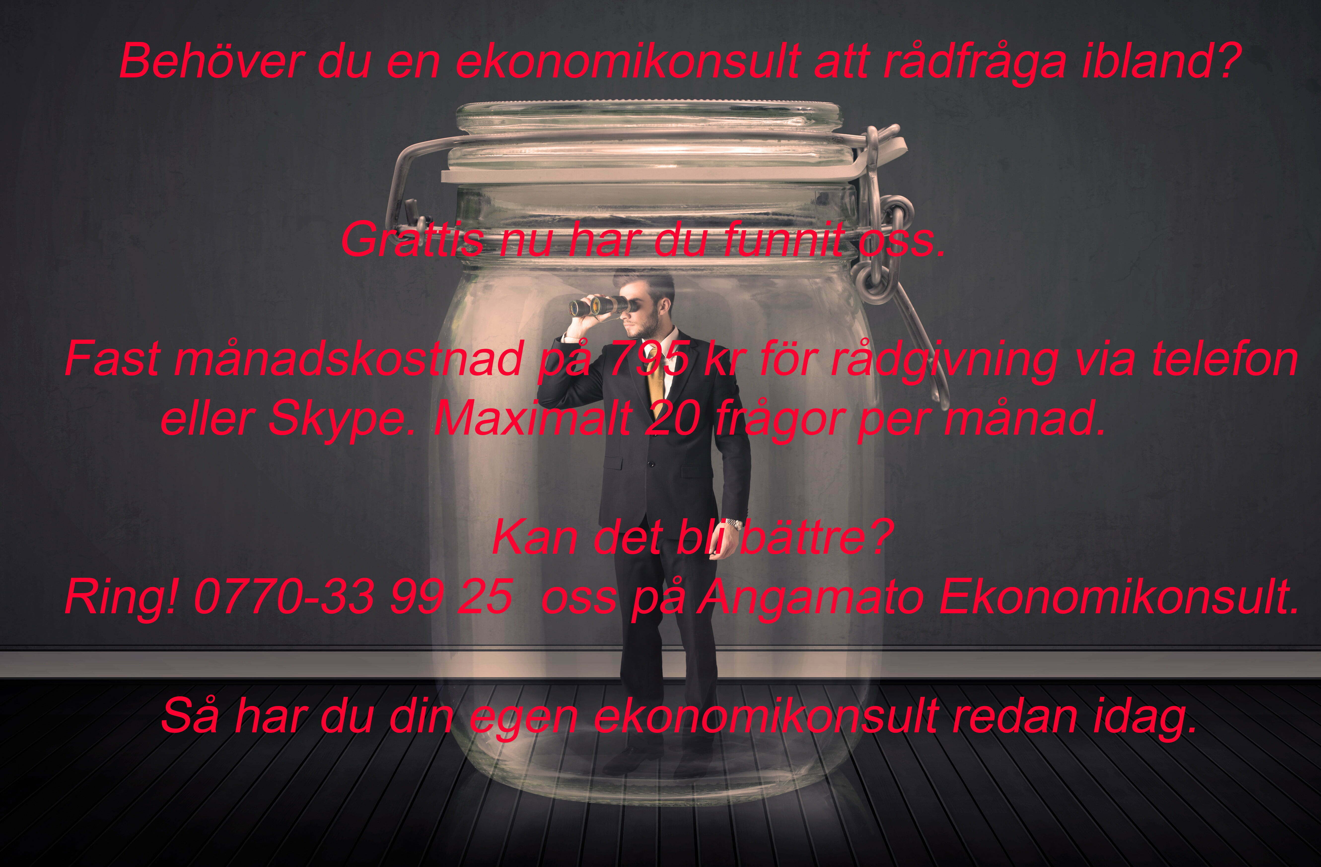 Ekonomikonsult, Ekonomikonsult på burk, Tomas Tobiasson, Angamato Ekonomikonsult AB